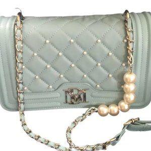 Badgley Mischka Quilted Pearl Crossbody Blue Bag
